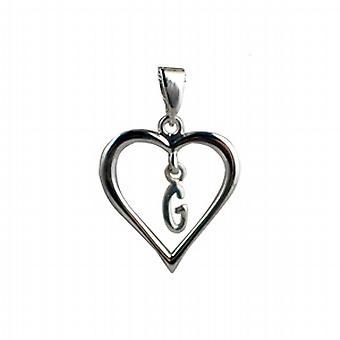 Silber Herz Anhänger mit einem hängenden Initial G