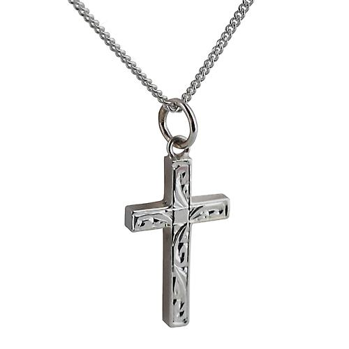 Silver 20x13mm hand engraved solid block Cross with a curb Chain 20 inches