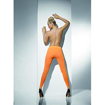 Womens Neon Orange Opaque Footless Tights Fancy Dress Accessory