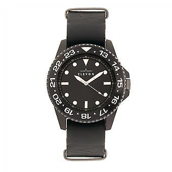 Elevon Dumont Leather-Band Watch - Black