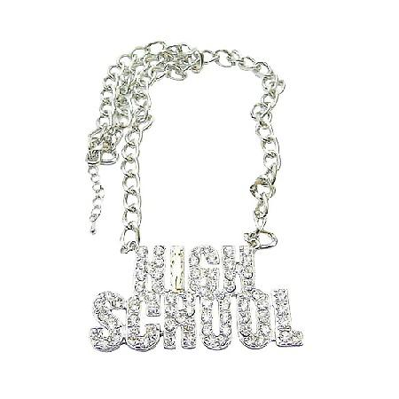 High School Pendant Hiphop Necklace Fully Sparkling Diamante Necklace