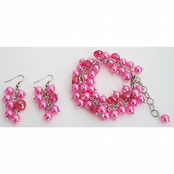 Chunky Beaded Bracelet Earrings Set In Fuchsia Jewelry Gift