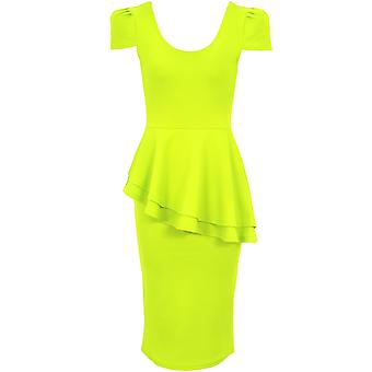 Ladies U Neck Cap Sleeve Asymmetric Side Slant Peplum Bodycon Party Dress
