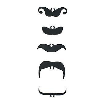 TRIXES 5PC negro novedad pajas con bigotes - ideal para partes