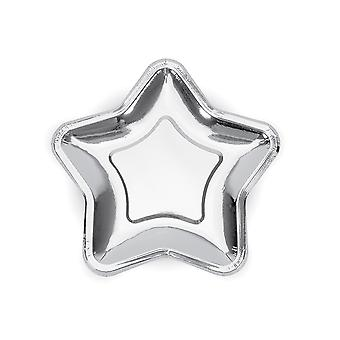 6 Small Metallic Silver Star Shaped Paper Party Plates