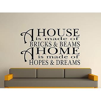 A House Is Made Of Bricks And Beams v2 Wall Art Sticker - Black