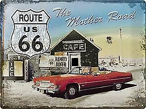 Route 66 Mother Road (red car) weathered embossed large metal sign  (na4030)