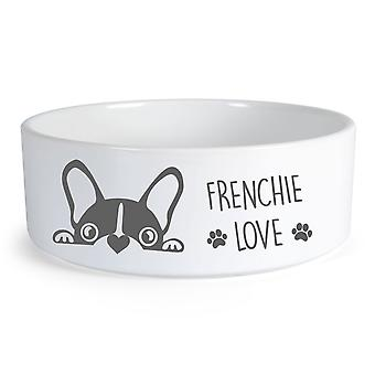 Frenchie Love Large Ceramic Dog Bowl