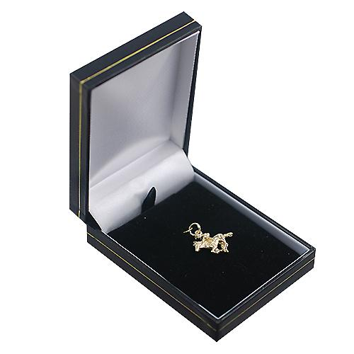 9ct Gold 17x21mm galloping Horse and Jockey Pendant or Charm
