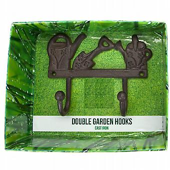 Cast Iron Double Garden  Shed  Kitchen Hooks Watering Cans Key (956020WC)
