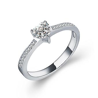 925 Sterling Silver Heart Cut Solitaire Accent Engagement Ring