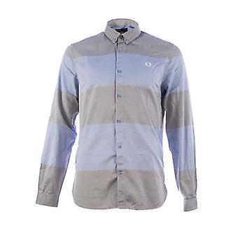 Fred Perry Herren strukturierte Streifen Langarm-Shirt - M7284-146