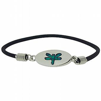 Dragonfly Blue-Green Inlaid Paua Shell Elasticated Bracelet by TOC