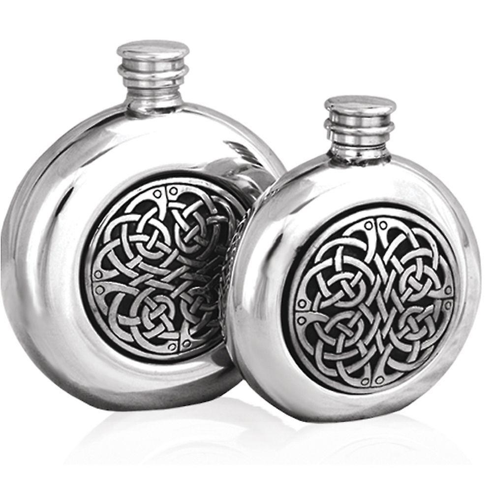 6oz Round Celtic Knots Flask Pewter - Cel193
