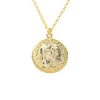 Roman Coin Gold Pendant Necklace Talisman Chain Short 925 Sterling Silver Simple