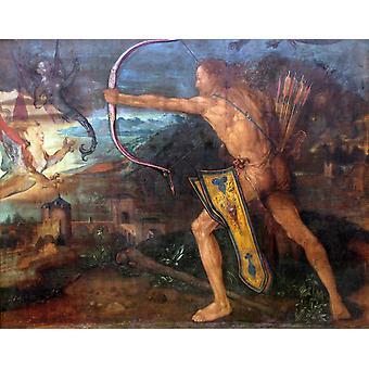 Hercules doodt de Stymphalic vogels, Albrecht Durer, 50x40cm