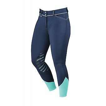 Dublin thermische Womens gel knie patch rijbroek-Navy/Mint