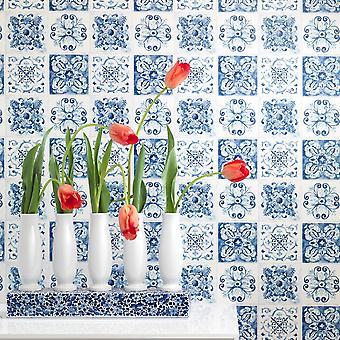 Rasch Floral Tile Pattern Wallpaper Kitchen Bathroom Motif Feuille Embossed 885309