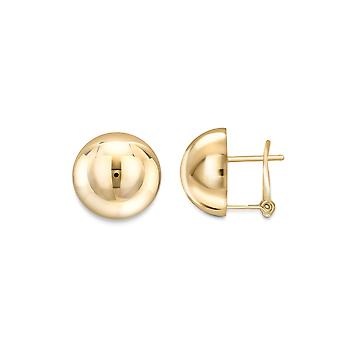 Jewelco London 18ct Gold Polished Dome Stud Earrings 14mm