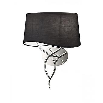 Mantra Ninette Wall Lamp 2 Light E14, Chrome poli avec ombre noire