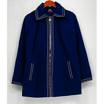 Dennis Basso Water Resistant Long Sleeve Jacket Blue A289173
