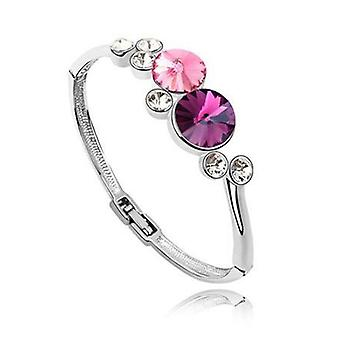 18K Gold Plated Dropping Stone Bracelet, pink colour, 8.9 cm wide