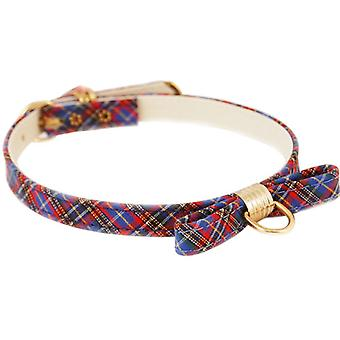 Pet Supply Imports Plaid Blue Scotch Adjustable Fancy Dog Collar with Bow, 14 Inch Neck