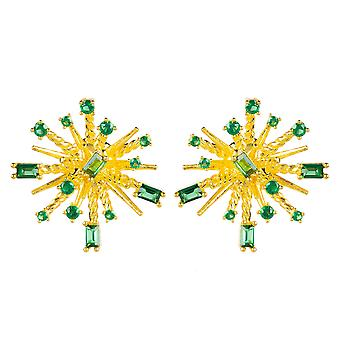 Green Baguette Yellow Gold Stud Earrings Round Large Cubic Zirconia Gemstone