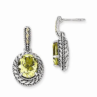 925 Sterling Silver With 14k Antiqued Lemon Quartz Post Dangle Earrings - 7.30 cwt