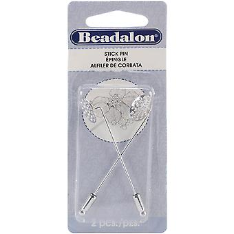 Stick Pin with Beading Disc 2 Pkg Silver 356W 200