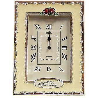 2pk of Clocks - 40th Anniversary Ruby Wedding Celebration Quartz Table Clock-37240