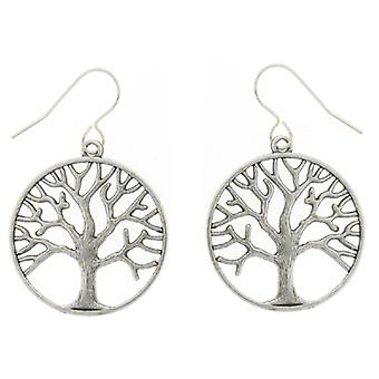Large Silver Plated Chantilly Tree of Life Circle Drop Earrings