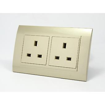 I LumoS AS Luxury Gold Plastic Arc  Double 20A Switch with Unswitched  13A UK Socket