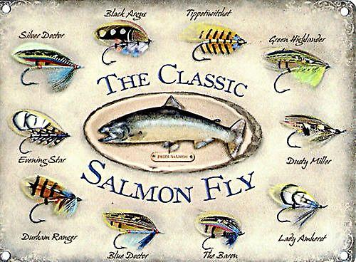 Classic Salmon Fly small steel sign 200mm x 150mm (og)