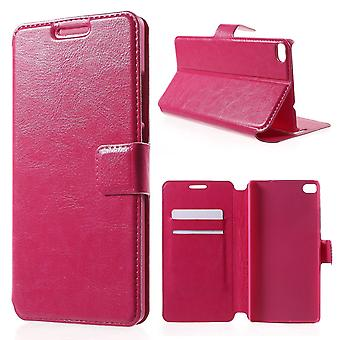 Leather cover with support for Huawei Ascend P8 (Pink)