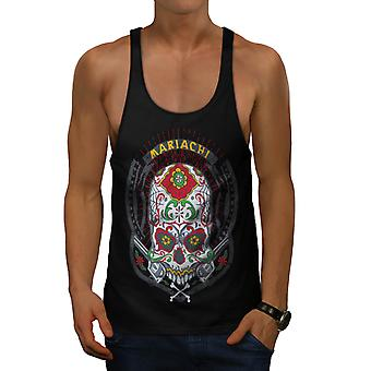 Mariachi Skull Latin Mexico Fun Men Black Gym Tank Top | Wellcoda