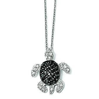 Sterling Silver Black and White CZ Turtle Necklace - 18 Inch