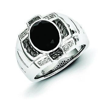 Sterling Silver Polished Prong set Gift Boxed Diamond and Simulated Onyx Oval Black Rhodium-plated Mens Ring - Ring Size