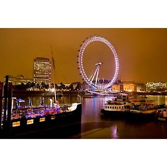 England London River Thames and London Eye Poster Print by David Slater