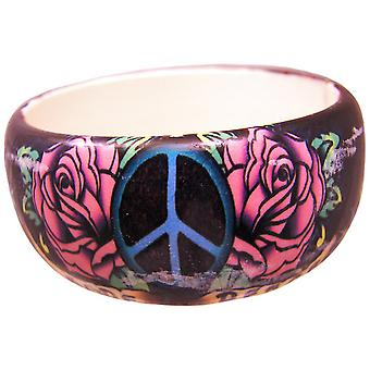 1 1/4 Inch Wide Tattoo Peace & Roses Bangle Bracelet