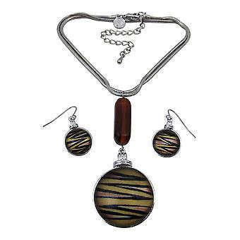 Mooie Tiger Stripe Snake ketting & oorbellen Set