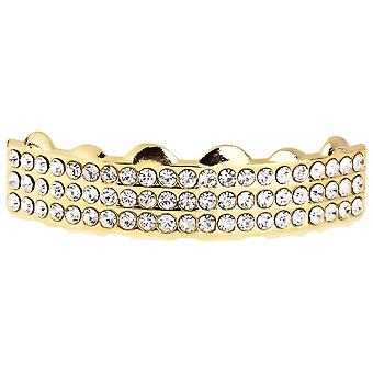 One size fits all bling Grillz - THREE LINE TOP - gold