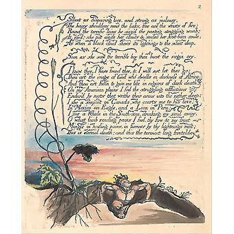 William Blake - America A Prophecy Plate 4 Poster Print Giclee