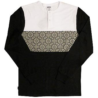 Gauner & Burgen Pagode Langarm Henley T-shirt schwarz