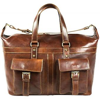 David Van Hagen Leather Travel Bag - Brown
