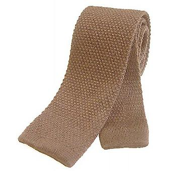 Tyler and Tyler Plain Knitted Wool Tie - Light Brown