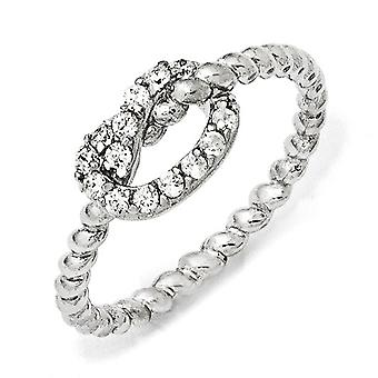Sterling Silver Rhodium-plated Cubic Zirconia Knot Ring - Ring Size: 6 to 8
