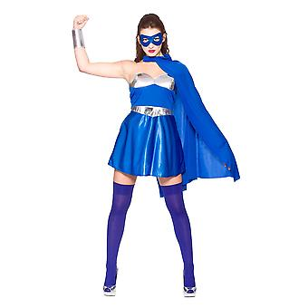 Wicked Women's Fancy Dress Blue & Silver Hot Super Hero Costume