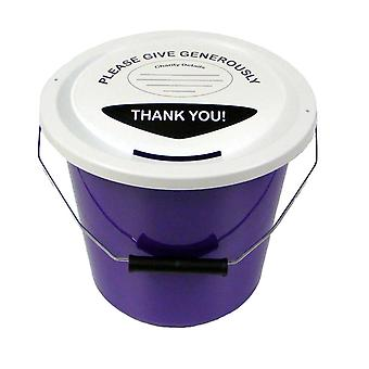 3 Charity Money Collection Buckets 5 Litres - Purple