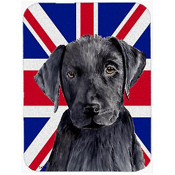 Labrador with English Union Jack British Flag Glass Cutting Board Large Size